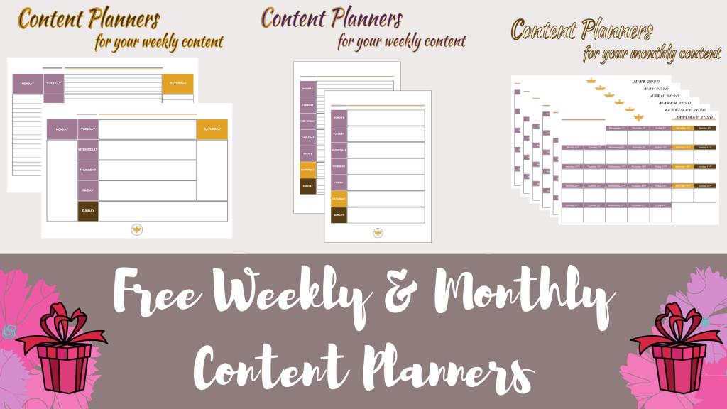 Content Planners: Free Unique Content Planners